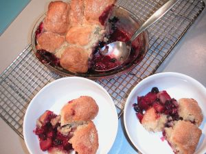 Yummy peach + blackberry cobbler