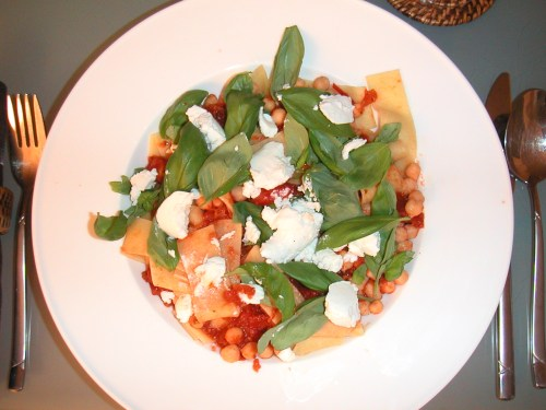 Pappardelle with fresh tomato sauce, chickpeas, ricotta and basil